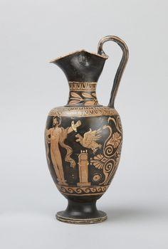 South Italian, Apulian attributed to the Ascoli Satriano Painter, active ca. 340 - ca. 320 B.C. Place made: Apulia, South Italy Red-figure oinochoe: Herakles liberating Prometheus, ca. 330 – 320 B.C.