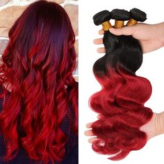 Dream Hair Best 7A Brazilian Ombre 1B/Red Virgin Body Wave Hair 3... ($132) ❤ liked on Polyvore featuring beauty products and haircare