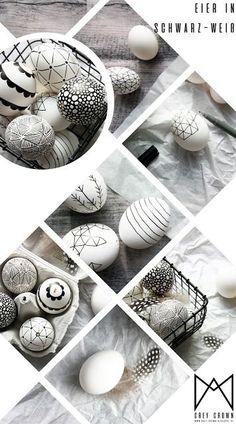 Oster DIY - Ostereier im schwarz-weiß-Look bemalen