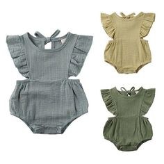 Beautifully detailed cutout romper for baby girls. Material: Cotton blend Pattern: Solid Collar: O-Neck Closure: Snaps Sleeve Length: Sleeveless Fit: Fits true to size Ruffle Bloomers, Ruffle Shorts, Ruffle Sleeve, Newborn Outfits, Baby Boy Outfits, Baby Accessoires, Boys And Girls Clothes, Romper Pattern, Girls Summer Outfits