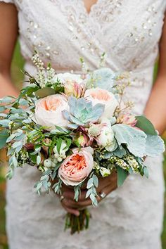 A soft bouquet of Juliet garden roses, succulents, and lamb's ear