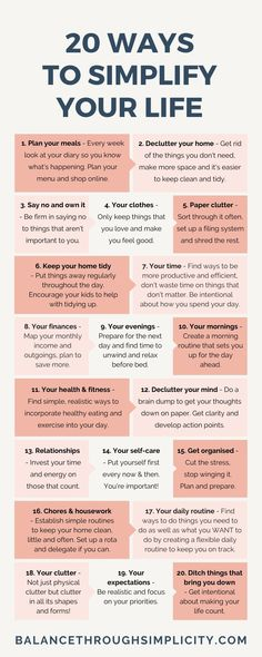 20 ways to simplify your life – Balance Through Simplicity – Health Life Vie Simple, Vie Motivation, Self Care Activities, Good Habits, Self Improvement Tips, Self Care Routine, How To Better Yourself, Self Development, Leadership Development
