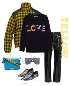 """""""Yellow Plaid"""" by kvogele ❤ liked on Polyvore featuring Gucci, Porsche Design, F-Troupe, rag & bone, Off-White, PopsOfYellow and NYFWYellow"""
