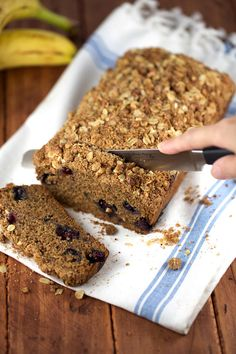 Slicing into Whole Wheat Vegan Blueberry Banana Bread