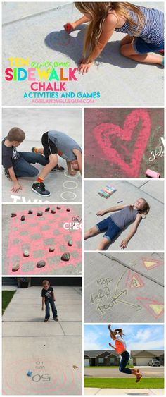 awesome games and activities to do with sidewalk chalk! 10 amazingly fun things to do this summer with sidewalk chalk--keep those kids busy and entertained Games For Boys, Fun Games, Awesome Games, Activities To Do, Summer Activities, Toddler Activities, Outdoor Fun, Outdoor Games, Outdoor Activities