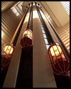 Marriott Marquis Hotel at Times Square, New York City. These were the elevators, we were on the 43rd floor, very scary! Went so fast they made yours ears pop!
