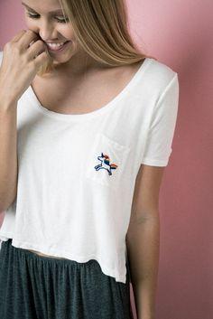 Brandy ♥ Melville | Jennah Rainbow Unicorn Embroidery Top - Graphics