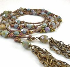 Long Beaded Lariat, Blue Green Muted Glass, Seed Bead Necklace, Bronze Chain Tassles, Handmade Lariat. $48.00, via Etsy.