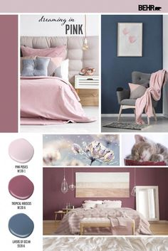 Create a bedroom that you will love to dream in with pink hues that are delicate and calming. This palette pairs pink hues; Pink Posies and Tropical Hibiscus with a dusty blue; Layers of