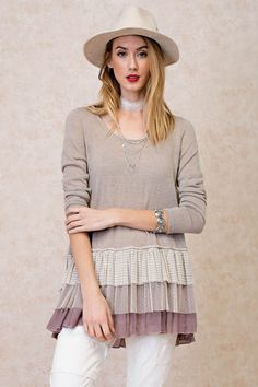 Baby Doll Ruffle Sweater - Mauve