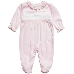 Girls Pink Pima Cotton Rosebuds Babygrow - Baby   Childrensalon
