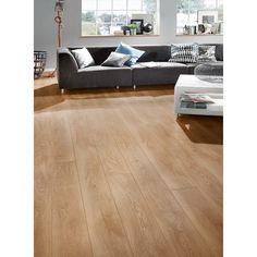 Grey Living Room - Light Brown Laminate Flooring