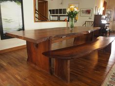 Rose Wood table! Two piece Top with single side Bench. Finished with Bronze Inlay
