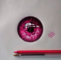 Eye drawing in pink ink. Pretty shiny!