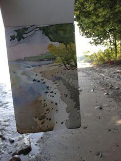 Here's two more from last weekend. Watercolor Wave, Watercolor Landscape, Abstract Landscape, Watercolor Paintings, Watercolours, Travel Sketchbook, Art Sketchbook, Erie Beach, Lake Erie