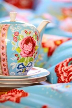 duck blue and floral pastel china tea pot and cake plates • CWA Australia • Country Women's Association