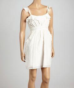 Look at this #zulilyfind! Off-White Ruffle Pocket Silk-Blend Sleeveless Dress #zulilyfinds
