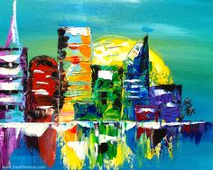 """Abstract Rainbow Cityscape Pallet Knife painting Tutorial of LOVE INCLUSION and HOPE. """" City of Hope"""" Please Join us for an art vigil to send love and positivity to the People of Orlando. Let come together in hope for the victims and families in an act of support and unity. We will all put our wishing power to focus LOVE and Strength to those who need it so so so much. We are Orlando #lovefororlando #paintforpeace #weareorlando #prayfororlando"""