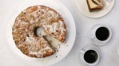 """Everyone needs a delicious coffee cake recipe in their repertoire, and this cinnamon streusel coffee cake recipe from Martha Stewart is the perfect option. Meaning """"something strewn"""" in Old German, streusel is easy to throw together -- and then to throw Cake Recipe Martha Stewart, Cinnamon Streusel Coffee Cake, Sour Cream Coffee Cake, Streusel Topping, Cake Toppings, Something Sweet, Sweet Bread, Baked Goods, Yummy Treats"""