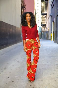 This has so many of my favorite things I don't know where to start. Fun pants, matchy-matchy, red and gold... WOW.