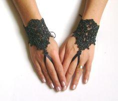Melange Black Wedding gloves bridal gloves lace by GlovesShop, $25.00