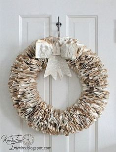 Book Page Wreath  Start with a large wire ring, tea stain the page edges. Fold pages in half, and put a hole in the bottom. Alternate pages one way and another around the ring.