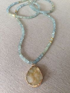 Moss Aquamarine and Brushed Gold Beaded by GoldenstrandJewelry