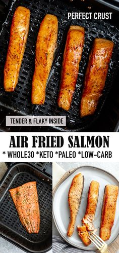 Air Fried Salmon is the quickest and easiest way to cook your salmon perfectly every time. Less minutes for a crispy crust and tender & flaky inside. Baked Salmon Recipes, Fish Recipes, Paleo Recipes, Low Carb Recipes, Cooking Recipes, Cook Salmon On Stove, Cooking Salmon, Easy Dinner Recipes, Easy Meals
