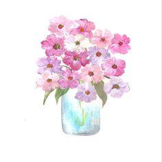 Original Cosmos Watercolor Floral Vase Series by KenziesCottage