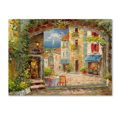 """Trademark Fine Art """"Capri Isle"""" by Rio Painting Print on Wrapped Canvas"""