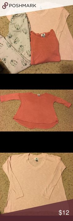 Old Navy LOT Baby soft pink and mauve pink light knit sweaters. Soft pink is long sleeved (XS). Mauve pink is 3/4 sleeves (girls 10/12). Light pink, soft green floral pattern rockstar jeggings (girls 12 regular). All old navy. Old Navy Shirts & Tops Sweaters