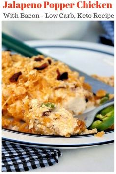 Jalapeno popper chicken loaded with three types of cheese, fresh jalapeno slices, and crispy bacon. This delicious meal will be a family favorite dish and perfect for low carb and keto followers! #chicken #jalapeno #lowcarb #ketorecipe #casserole | www.th Easy Chicken Recipes, Turkey Recipes, Lunch Recipes, Easy Dinner Recipes, Low Carb Recipes, Crockpot Recipes, Easy Meals, Cooking Recipes, Healthy Recipes