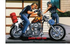 David Mann moto Art Poster vers le bas de la place par darkartink