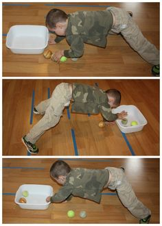 This tennis ball transfer game addresses vestibular development by having children practice moving their body in all different directions