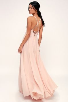 cf7be1ea81 Lulus | Remember Tonight Blush Pink Lace-Up Maxi Dress | Size Large | 100%  Polyester