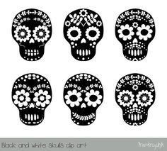 Sugar skull clipart, Black and white flower skull clipart, Day of the dead skull, Halloween clip art, Calavera, Dia de los Muertos graphics