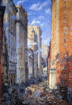 Colin Campbell Cooper - Broad Street Canyon, New York, 1904, oil on canvas
