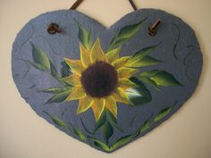 Sunflower on slate...painted by friend, Barb~