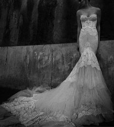 Inspired Inbal dror 2013 sweetheart neckline French lace bodices with a belt mermaid wedding dress