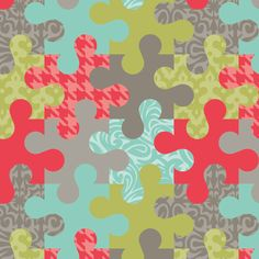 You can find lots of my designs on fabric with Spoonflower.com  Puzzled fabric by wrapartist on Spoonflower - custom fabric