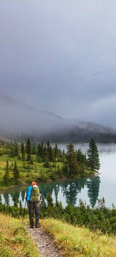 Hike along the Elizabeth Lake, Glacier National Park, Montana, United States