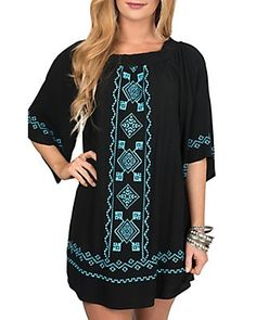 Flying Tomato Women's Black with Turquoise Tribal Embroidery Dress - Plus Size