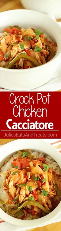 Crock Pot Chicken Cacciatore is a perfect slow cooker meal for a quick and easy weeknight dinner! Filled with tender shredded chicken, tomatoes, peppers, and onions. Slo Cooker Recipes, Healthy Crockpot Recipes, Beef Recipes, Chicken Recipes, Cooking Recipes, Crockpot Ideas, Yummy Recipes, Dinner Recipes, Recipes