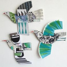 """Perfect done in Clay and hung on the garage in the backyard!"""" ~ These are Paper Illustration by Clare Youngs Paper Collage Art, Paper Birds, Paper Animals, Paper Illustration, Paper Artist, Creative Kids, Art Plastique, Art Activities, Oeuvre D'art"""