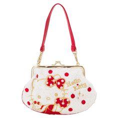 Hello Kitty Christmas Xmas Snap Closure Pouch Bag Purse RED SANRIO JAPAN