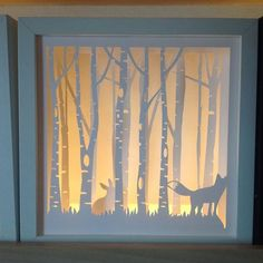 Here is another shadow box I made once again using an Ikea Ribba 23 x23 cm frame, Silhouette studio files 220gsm card and 120gsm vellum at the back. Its light by an ikea LED strip light