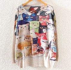 Printed cat round neck sweater T23117 – Tepayi