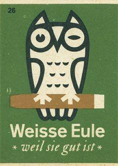 vintage german matchbox cover with owl illustration