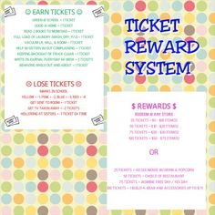 Started this ticket reward system with my daughter 2 weeks ago and she is eager to earn the tickets, therefore, improving her behavior at school and at home! So far so good! Chore Rewards, Behavior Rewards, Kids Rewards, Reward Coupons, Behavior System, Kids Behavior, Reward System For Kids, Reward Chart Kids, Rewards Chart