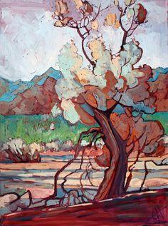 Smoke Tree Oil Painting by Erin Hanson